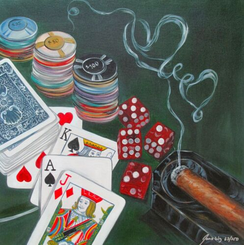 """JAMES WING """"POKER HAND"""" Hand Signed Limited Edition Art Giclee on Canvas"""