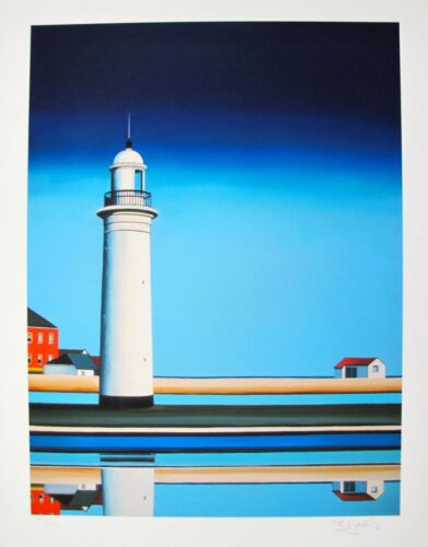 """BARBARA JAMES """"ON A CLEAR DAY LIGHTHOUSE"""" Hand Signed Limited Edition Giclee"""