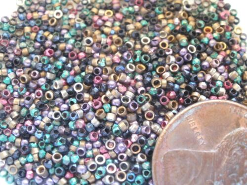 ANTIQUE FRENCH METAL BEADS MULTICOLOR TINY VINTAGE MICRO SEED RECLAIMED
