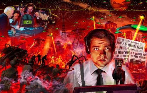Orson Welles War of the Worlds Classic sci fi poster art HG Wells Mars attacks