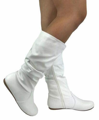 New White Round Toe Slouchy Women Causal Mid Calf Flat Boots Zipper Faux Leather