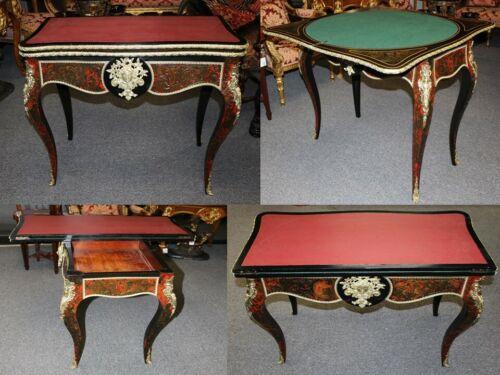 19th Century Antique French Louis XV Style Ormolu Inlaid Boulle Game Card Table