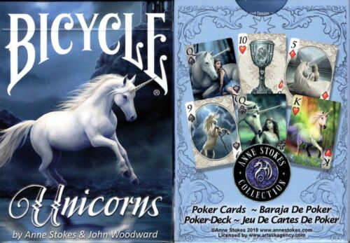 Unicorns Bicycle Playing Cards Poker Size Deck USPCC Annes Stokes Custom Limited