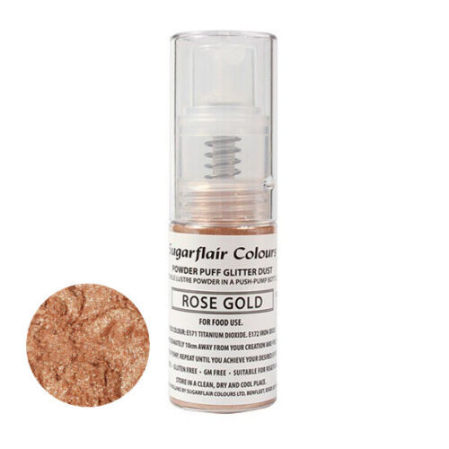 Sugarflair Powder Puff Edible Glitter Spray bez aerozolu 10g - ROOS GOUD