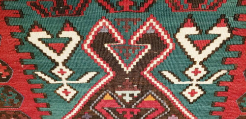 Exquisite Late 1900's Antique Natural Dye Wool Flat-Woven Kilim Museum Qlty