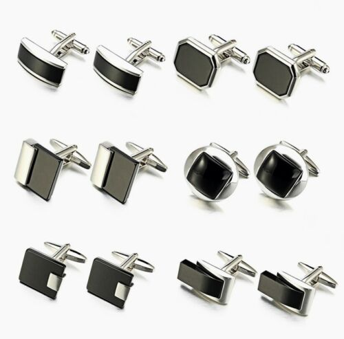 Silver Black High quality agate Wedding Business Shirt Novelty men's cufflinks <br/> ✔Brand New ✔High Quality ✔Fast Delivery ✔Au Stock