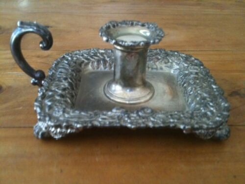VINTAGE TIFFANY REPRODUCTION CANDLESTICK HOLDER BY GODINGER SILVER FLORAL MOTIF