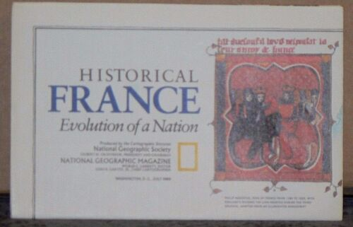 Vintage 1989 National Geographic Map of Historical France