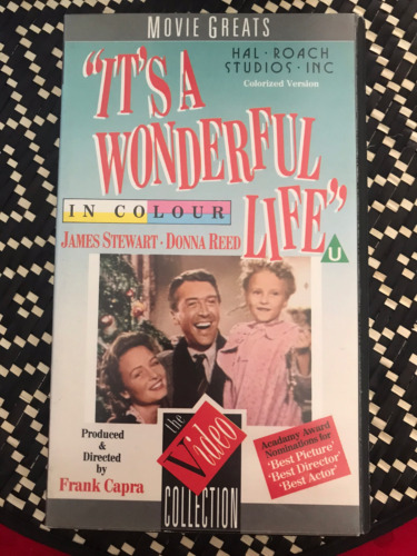 IT'S A WONDERFUL LIFE COLOUR VERSION JAMES STEWART ORIGINAL AS NEW PAL VHS VIDEO