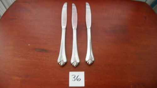 SET OF 3  ONEIDA  ROYAL FLUTE  DINNER KNIVES STAINLESS