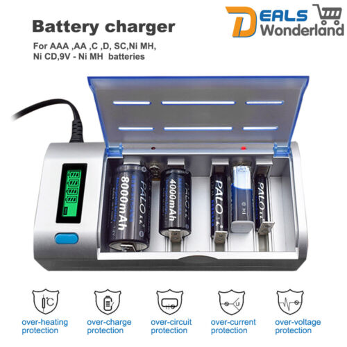 PALO Rechargeable LCD Universal Battery Charger For Ni-MH Ni-CD 9V AA AAA C D SC