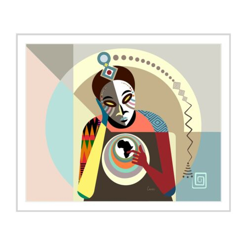 Art Black Conscious African American Abstract Modern Mask Kwanzaa Decor Painting