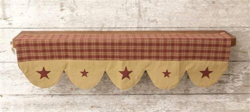 NEW Primitive Country Rustic Red Plaid & Star Farmhouse Fabric Shelf Liner Scarf
