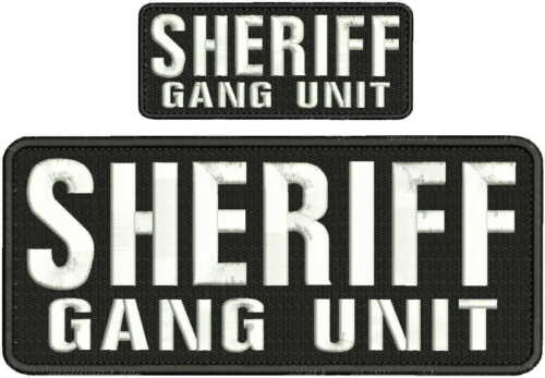 "/""Sheriff/"" embroidery patch  4x10 and 2x5 inches hook white"