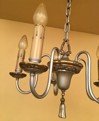 Vintage Lighting 1920s lovely pewter colored chandelier