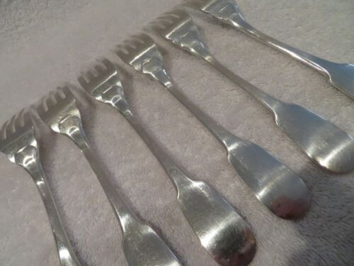 French silverplate 6 fish forks Christofle Cluny pattern dd13
