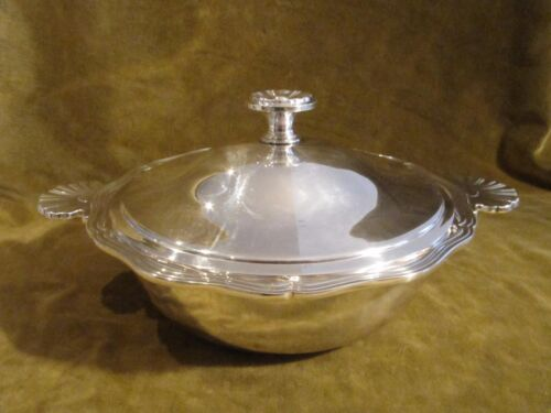 Vintage french silverplate christofle covered vegetable dish shells