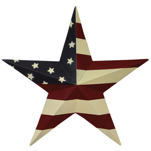 """Primitive Farmhouse Red/White/Blue Patriotic 18"""" Metal Hanging Wall Flag Star"""