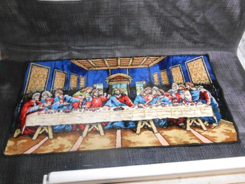 """Old Vtg Religious LAST SUPPER TAPESTRY Wall Hanging Decor 37 3/4""""x19"""" Tapestries"""