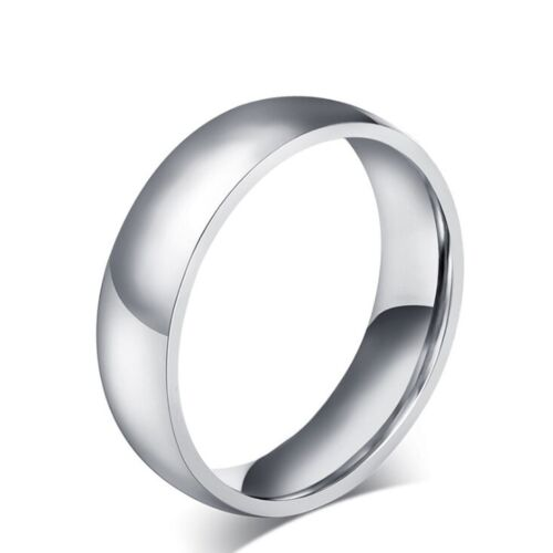 Mens Womens 6mm & 8mm Smooth Sliver Classic Titanium Steel Ring