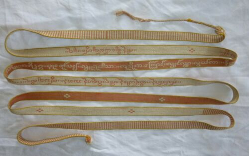 BURMA Antique Buddhist ribbon textile ikat SAZIGYO Asia buddhism Birmanie 1900