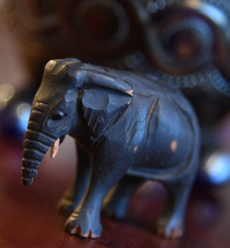 """ANTIQUE WOOD HAND CARVED ELEPHANT FIGURINE VICTORIAN 1800'S GLASS EYES 2 1/4"""""""