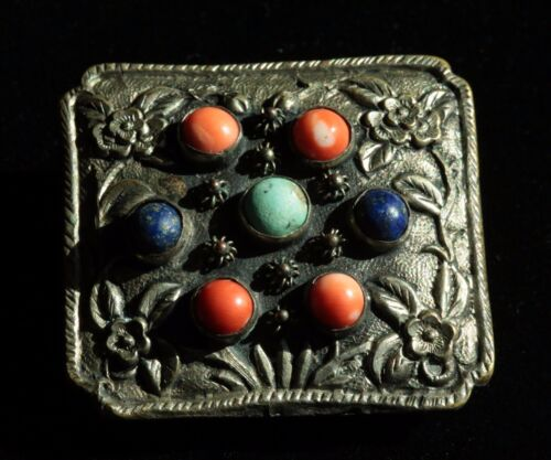 Antique Chinese  Peach Blossom Brass Belt Buckle w/ coral turquoise lapis