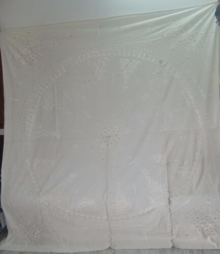 VERY PRETTY WHITE COLOR PATCHWORK CHIKANKARI WALL HANGING/BED SPREAD TAPESTRY