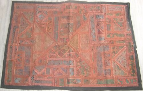 Old embroidery tapestry wall hanging patchwork home decor indian traditional art
