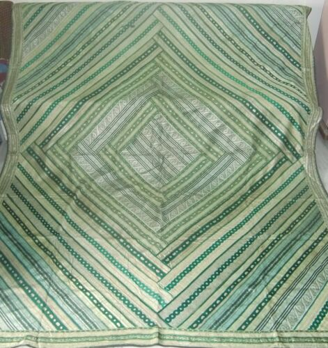 Old handmade patchwork brocade tapestry wall hanging green color wall decor art