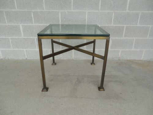 """Mastercraft Vintage Hollywood Regency Brass Glass Top Accent Table 26"""" x 26"""""""
