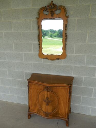 Vintage Regency Style Mahogany 2 Door Commode with Matching Mirror