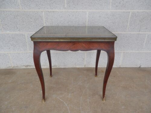 French Provincial Louis XV Style Marquetry Inlaid Accent End Table