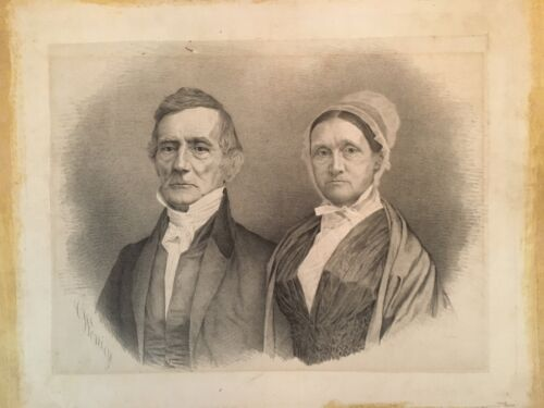 Lithograph Portrait of William & Lydia Coleman Mitchell Nantucket Mass. C. 1850