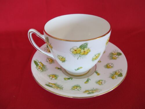 VINTAGE GLADSTONE YELLOW FLORAL PRINT CUP AND SAUCER MADE IN ENGLAND
