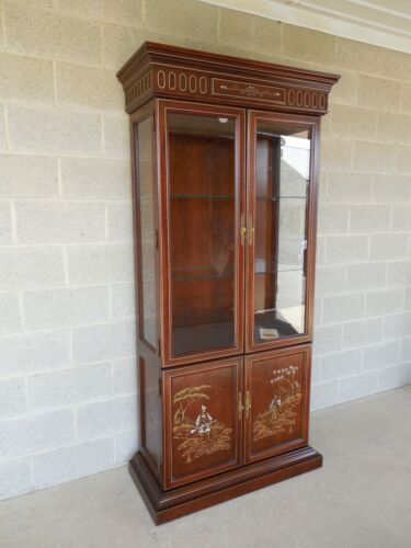 JASPER CABINET Chinoiserie Hand Paint Decorated 4 Door Lighted Curio Cabinet