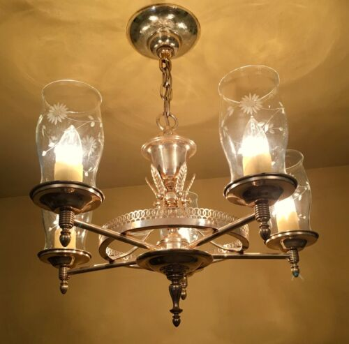 Vintage Lighting 1940s Lehrolite silver chandelier