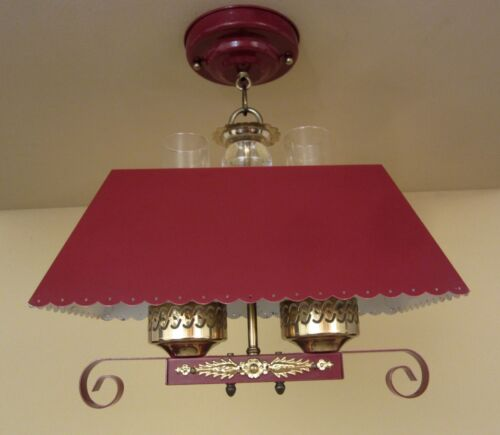 Vintage Lighting 1940s red hanging light   More Available