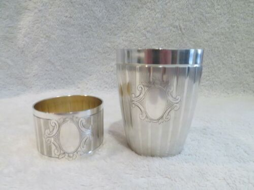 1900 french silver 950 (minerve) baby cup & napkin ring LXVI st C Barrier