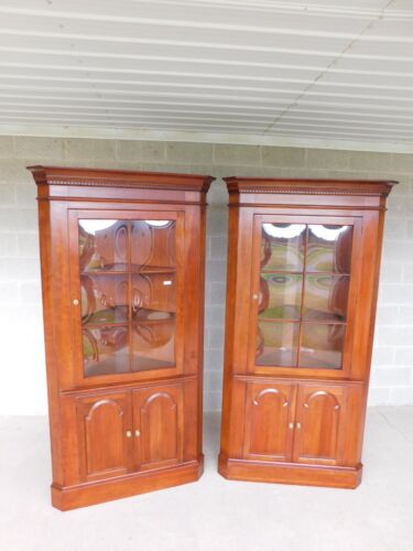 Pennsylvania House Cherry Chippendale Style Corner Cabinets - a Pair