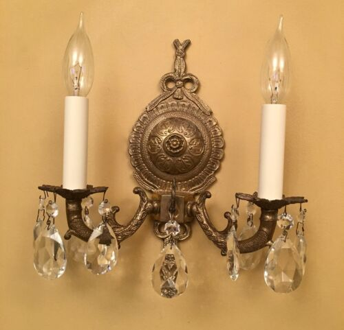 Vintage Lighting pair 1960s Hollywood Regency crystal sconces