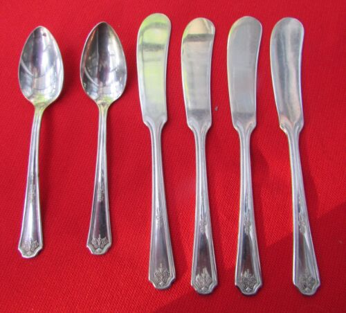 1928 Thelma Hampton Pattern 2 Demit Spoons 4 Butter Knv by Vernon Silver Plate