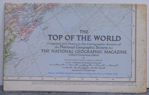 Vintage 1949 National Geographic Map of Top of the World