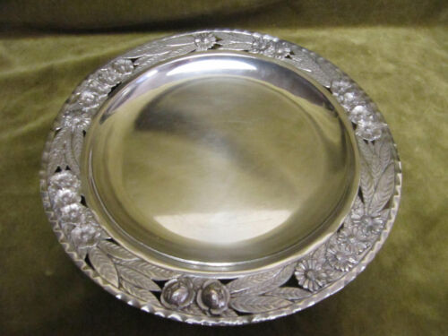 art deco 1925 french 800 silver (minerve) round platter 318gr flowers