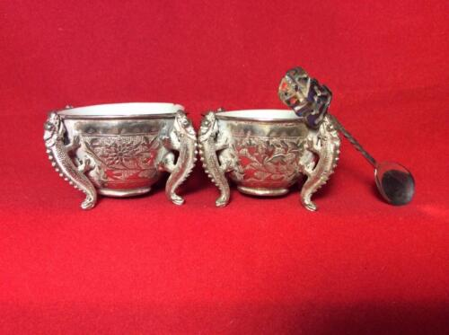 2 ANTIQUE 19th c SOUTH ASIAN SILVER (?) REPOUSSE SALTS W. 3 LIZARD LEGS CHINESE!