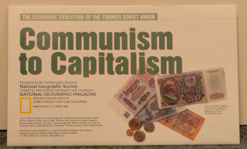 Vintage 1993 National Geographic Map of the Soviet Union Communism to Capitalism