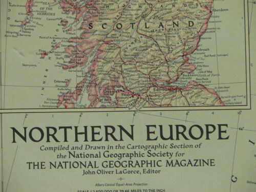 Vintage 1954 National Geographic Map of Northern Europe