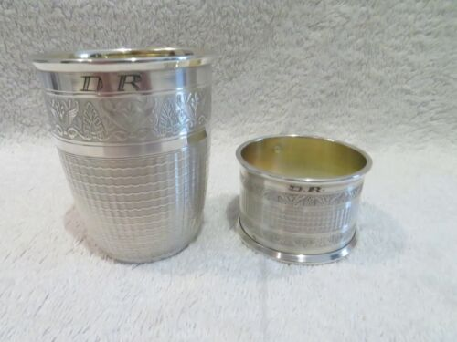 antique french guilloche silver 950 (minerve) baby cup & napkin ring empire st