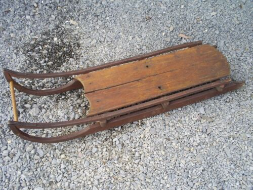 Antique Primitive 19th C Wood Sled Iron Runners Original Painted Surface