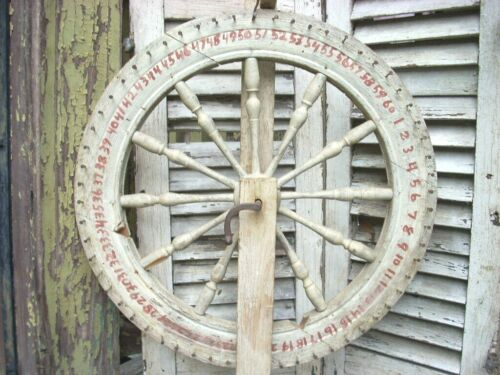 "Antique Game Wheel 20"" Wheel of Chance Americana Folk Art Painted Wood Wheel"